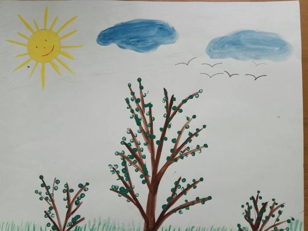 низкой рисование на тему весна в младшей группе картинки или